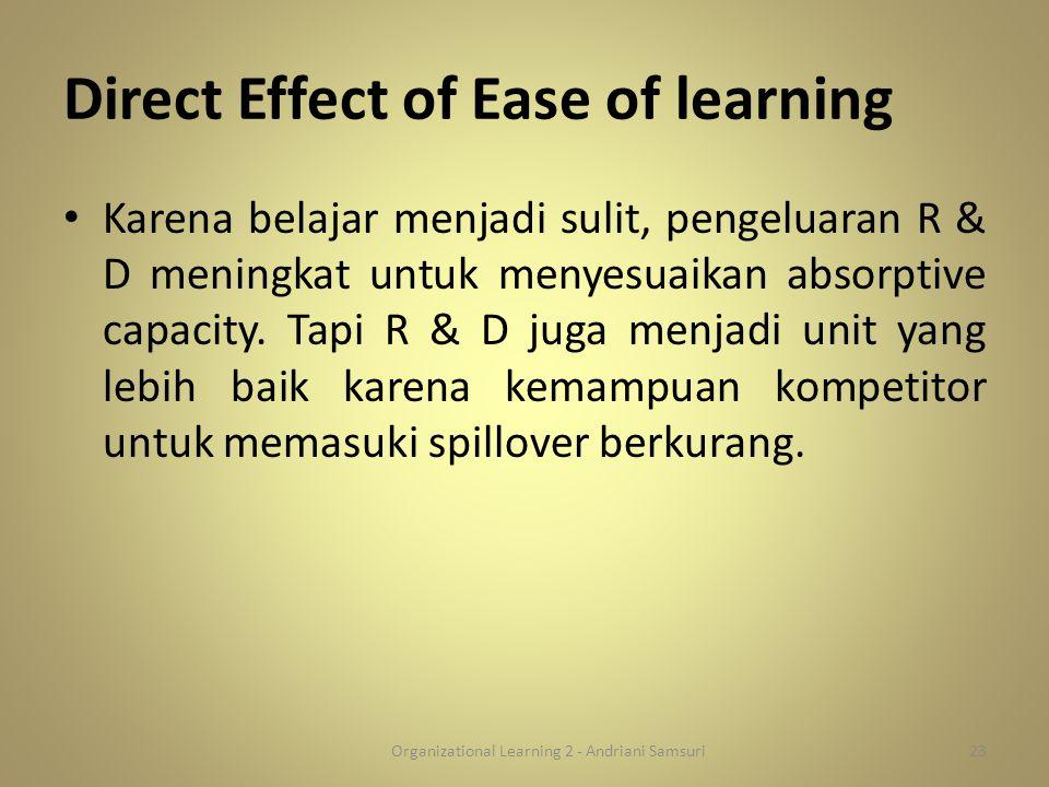 Direct Effect of Ease of learning Karena belajar menjadi sulit, pengeluaran R & D meningkat untuk menyesuaikan absorptive capacity. Tapi R & D juga me