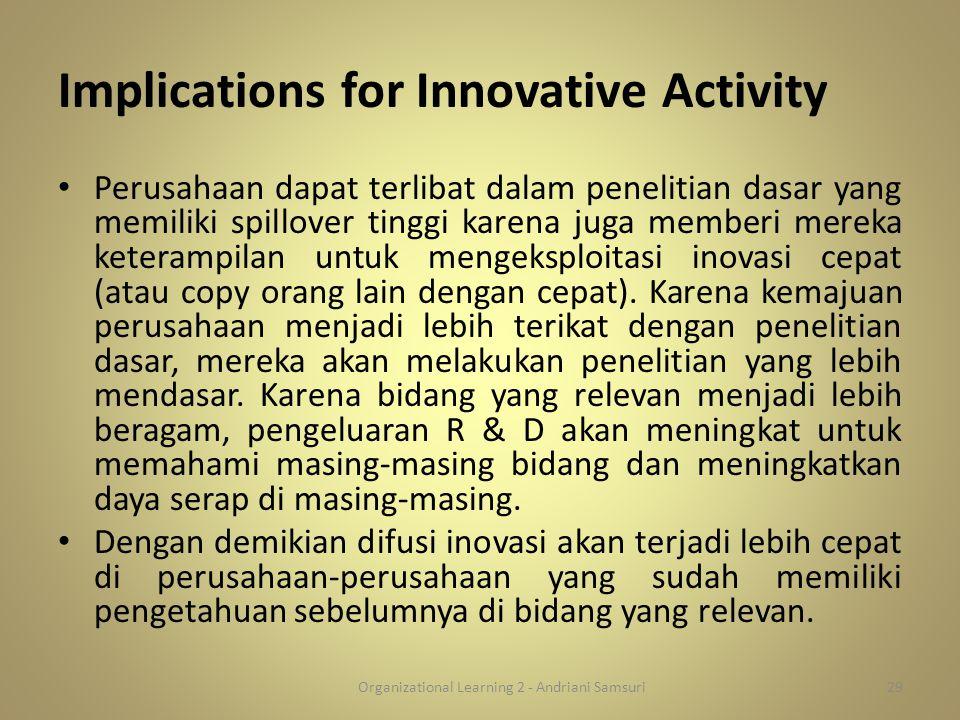 Implications for Innovative Activity Perusahaan dapat terlibat dalam penelitian dasar yang memiliki spillover tinggi karena juga memberi mereka ketera