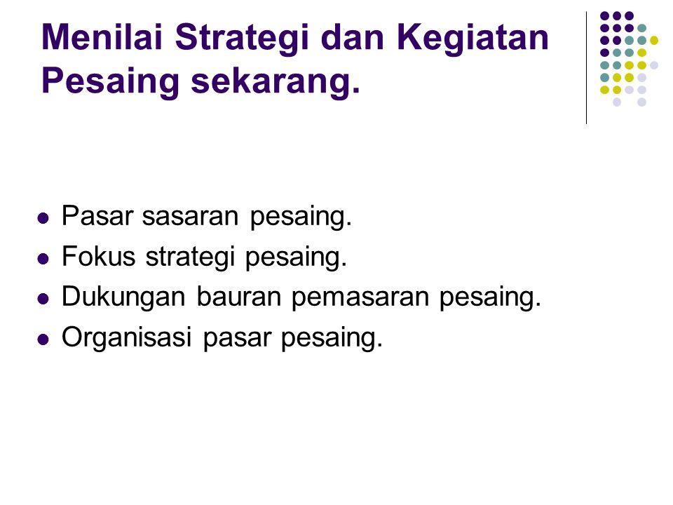 Menilai Strategi dan Kegiatan Pesaing sekarang. Pasar sasaran pesaing.