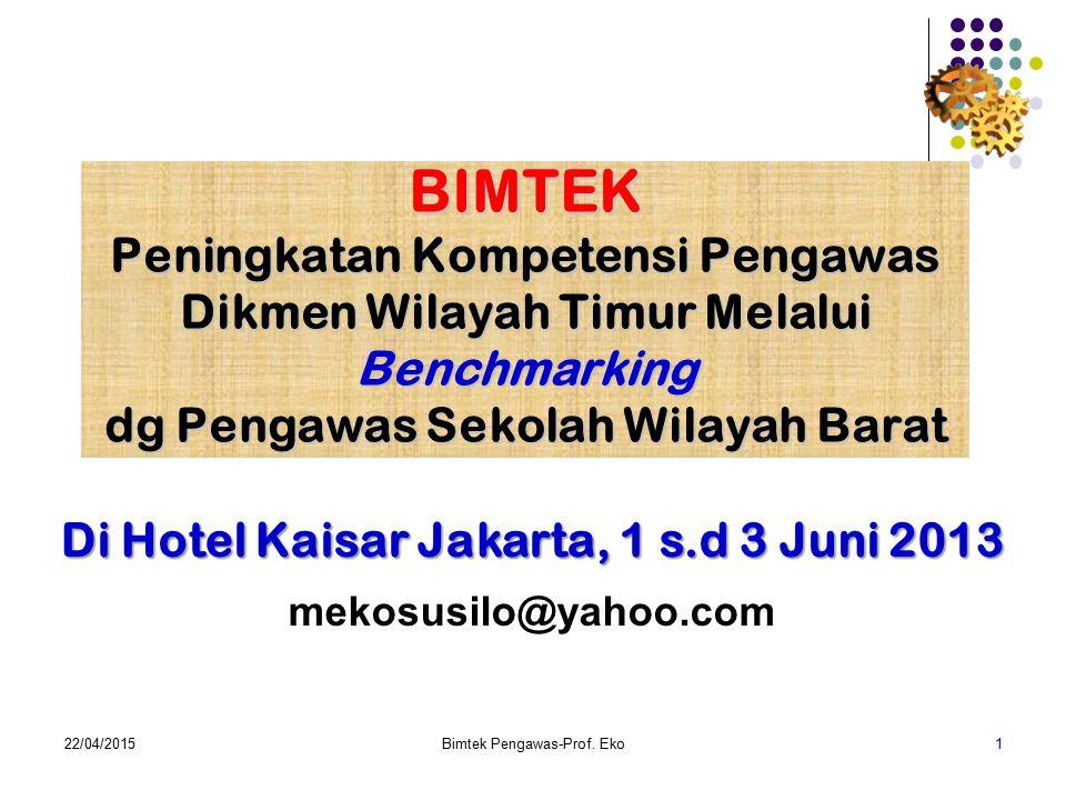 BIMTEK Peningkatan Kompetensi Pengawas Dikmen Wilayah Timur Melalui Benchmarking dg Pengawas Sekolah Wilayah Barat 22/04/2015Bimtek Pengawas-Prof.