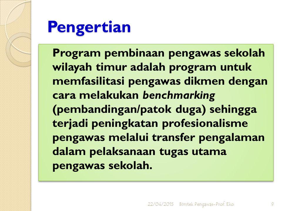 22/04/2015Bimtek Pengawas-Prof. Eko8 1.Pengawas SMA/SMK wilayah timur dapat menyusun program dan membuat laporan hasil pengawasan sekolah sesuai denga