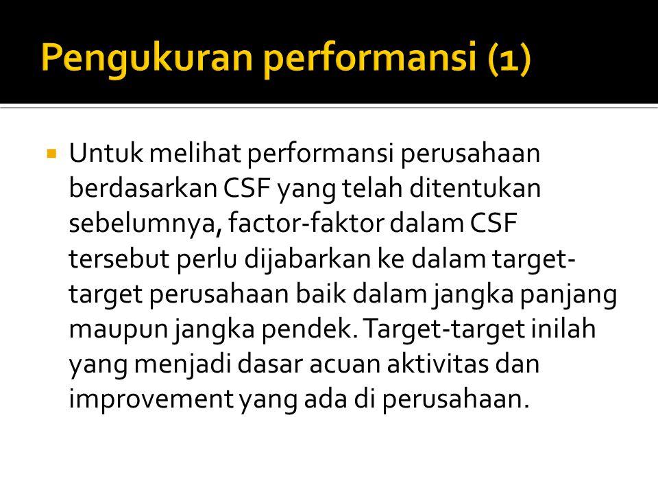  Untuk melihat performansi perusahaan berdasarkan CSF yang telah ditentukan sebelumnya, factor-faktor dalam CSF tersebut perlu dijabarkan ke dalam ta