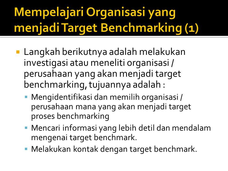  Langkah berikutnya adalah melakukan investigasi atau meneliti organisasi / perusahaan yang akan menjadi target benchmarking, tujuannya adalah :  Me