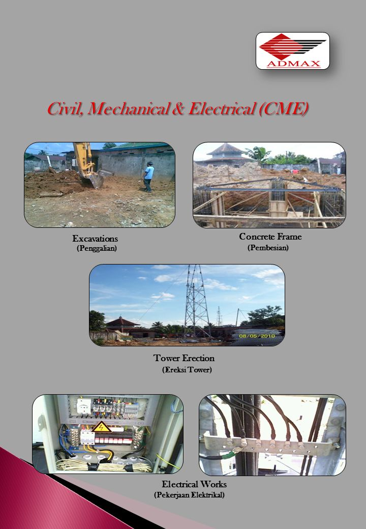 Excavations Concrete Frame (Penggalian) (Pembesian) Tower Erection (Ereksi Tower) Electrical Works (Pekerjaan Elektrikal)