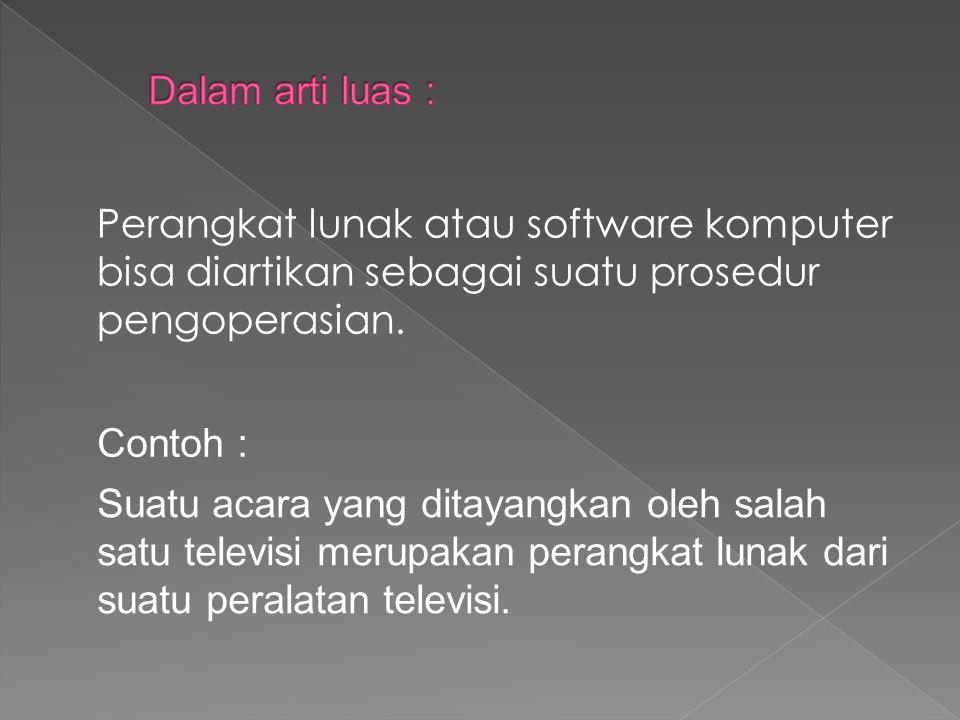 Perangkat lunak atau software komputer bisa diartikan sebagai suatu prosedur pengoperasian. Suatu acara yang ditayangkan oleh salah satu televisi meru