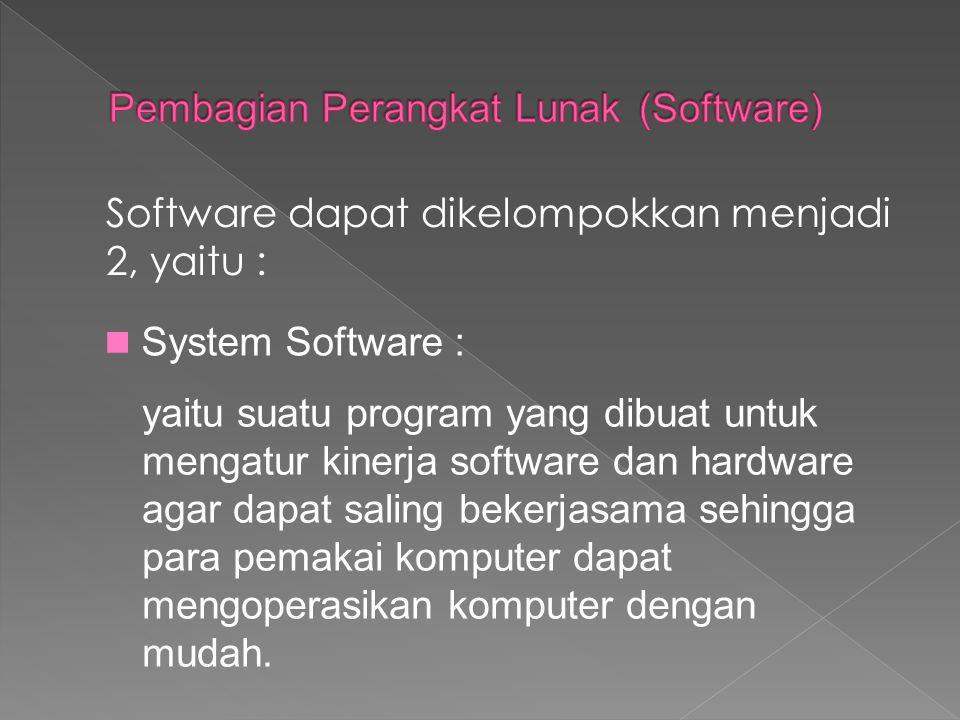 Software dapat dikelompokkan menjadi 2, yaitu : System Software : yaitu suatu program yang dibuat untuk mengatur kinerja software dan hardware agar da