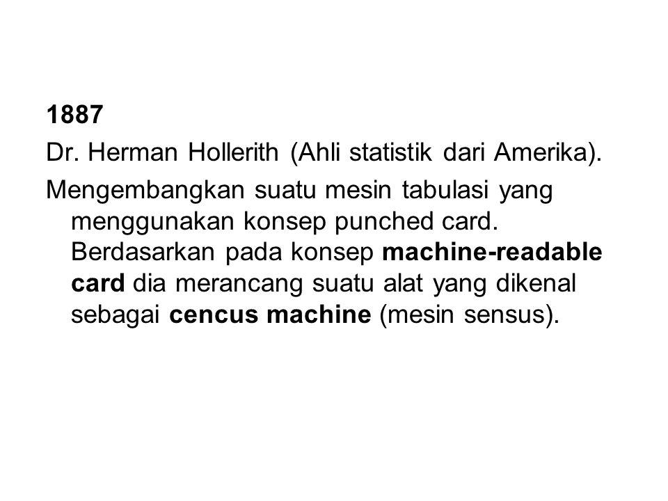 1887 Dr. Herman Hollerith (Ahli statistik dari Amerika). Mengembangkan suatu mesin tabulasi yang menggunakan konsep punched card. Berdasarkan pada kon