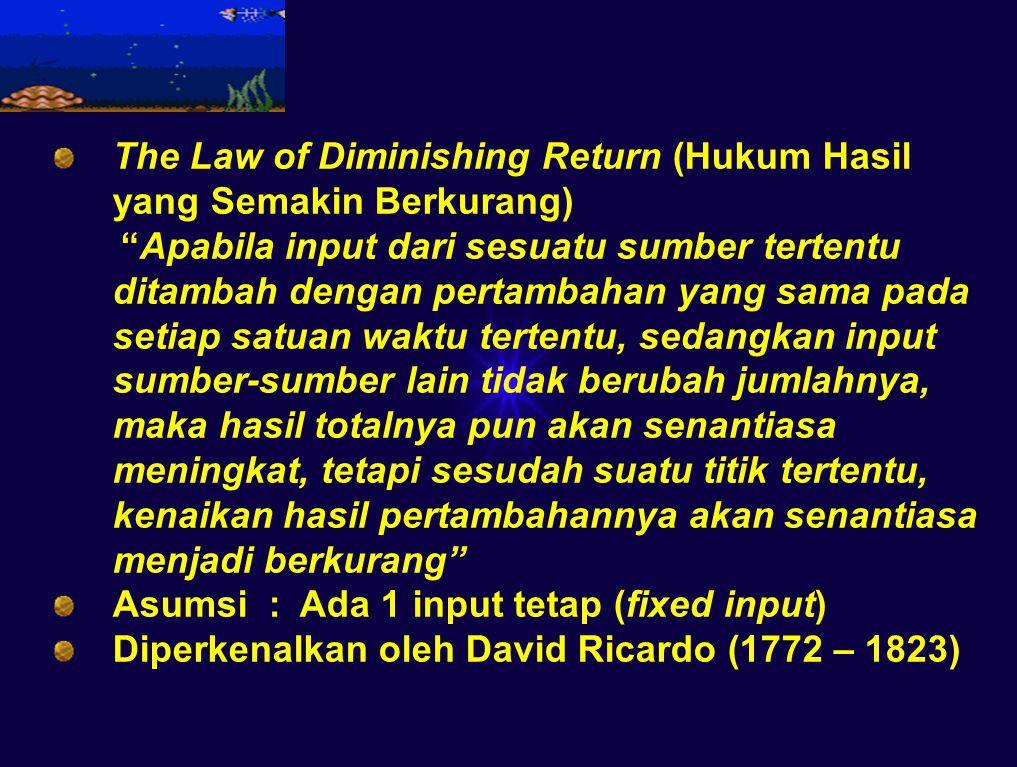 The Law of Diminishing Return (Hukum Hasil yang Semakin Berkurang) Apabila input dari sesuatu sumber tertentu ditambah dengan pertambahan yang sama pada setiap satuan waktu tertentu, sedangkan input sumber-sumber lain tidak berubah jumlahnya, maka hasil totalnya pun akan senantiasa meningkat, tetapi sesudah suatu titik tertentu, kenaikan hasil pertambahannya akan senantiasa menjadi berkurang Asumsi : Ada 1 input tetap (fixed input) Diperkenalkan oleh David Ricardo (1772 – 1823)