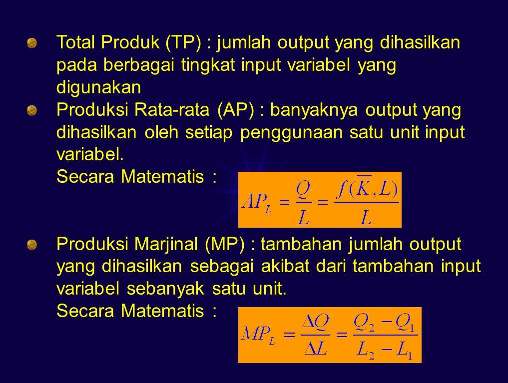 Total Produk (TP) : jumlah output yang dihasilkan pada berbagai tingkat input variabel yang digunakan Produksi Rata-rata (AP) : banyaknya output yang dihasilkan oleh setiap penggunaan satu unit input variabel.