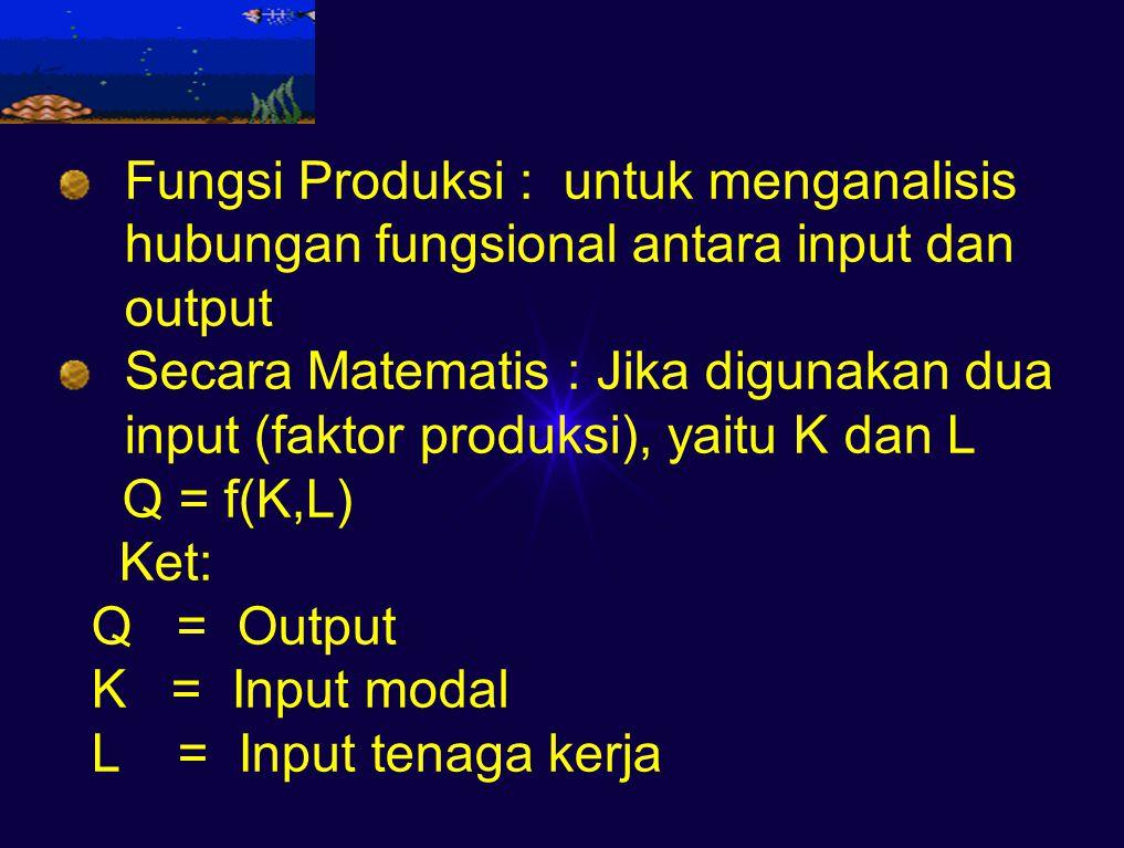 Fungsi Produksi : untuk menganalisis hubungan fungsional antara input dan output Secara Matematis : Jika digunakan dua input (faktor produksi), yaitu K dan L Q = f(K,L) Ket: Q = Output K = Input modal L = Input tenaga kerja