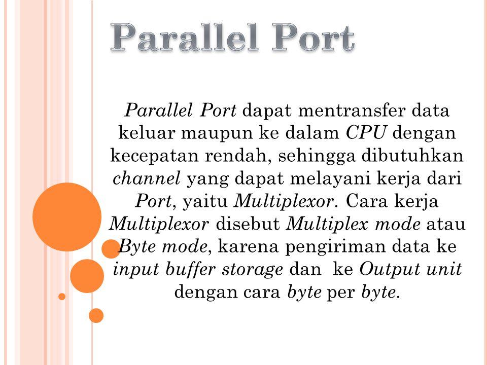 Parallel Port dapat mentransfer data keluar maupun ke dalam CPU dengan kecepatan rendah, sehingga dibutuhkan channel yang dapat melayani kerja dari Po