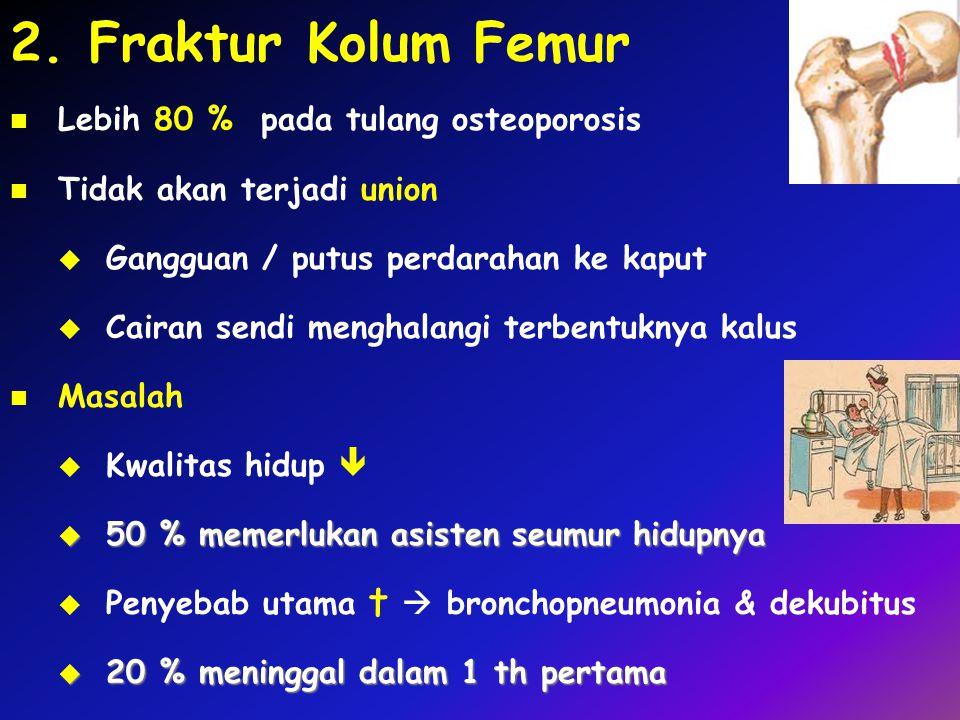 2. Fraktur Kolum Femur Lebih 80 % pada tulang osteoporosis Tidak akan terjadi union  Gangguan / putus perdarahan ke kaput  Cairan sendi menghalangi