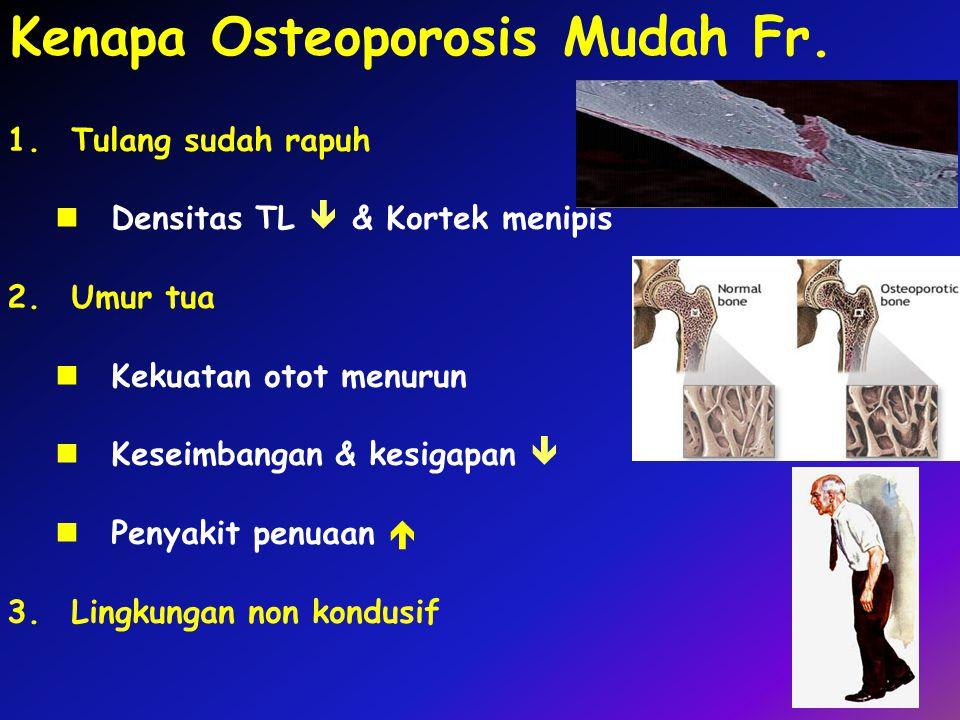 Kenapa Osteoporosis Mudah Fr. 1.Tulang sudah rapuh Densitas TL  & Kortek menipis 2.Umur tua Kekuatan otot menurun Keseimbangan & kesigapan  Penyakit