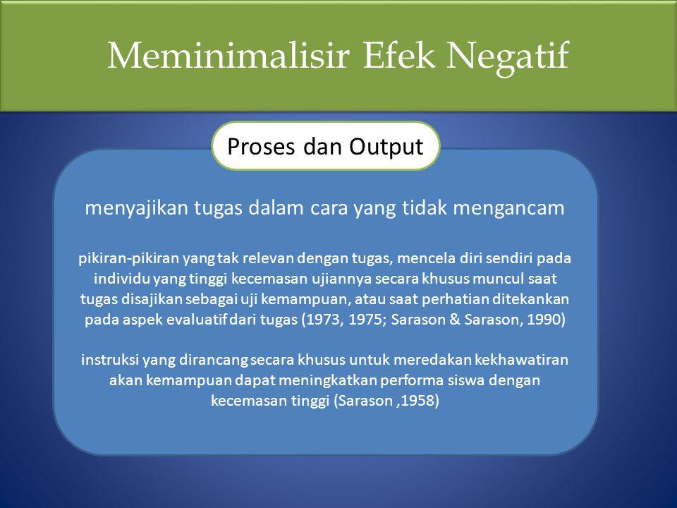 Meminimalisir Efek Negatif menyajikan tugas dalam cara yang tidak mengancam pikiran-pikiran yang tak relevan dengan tugas, mencela diri sendiri pada i