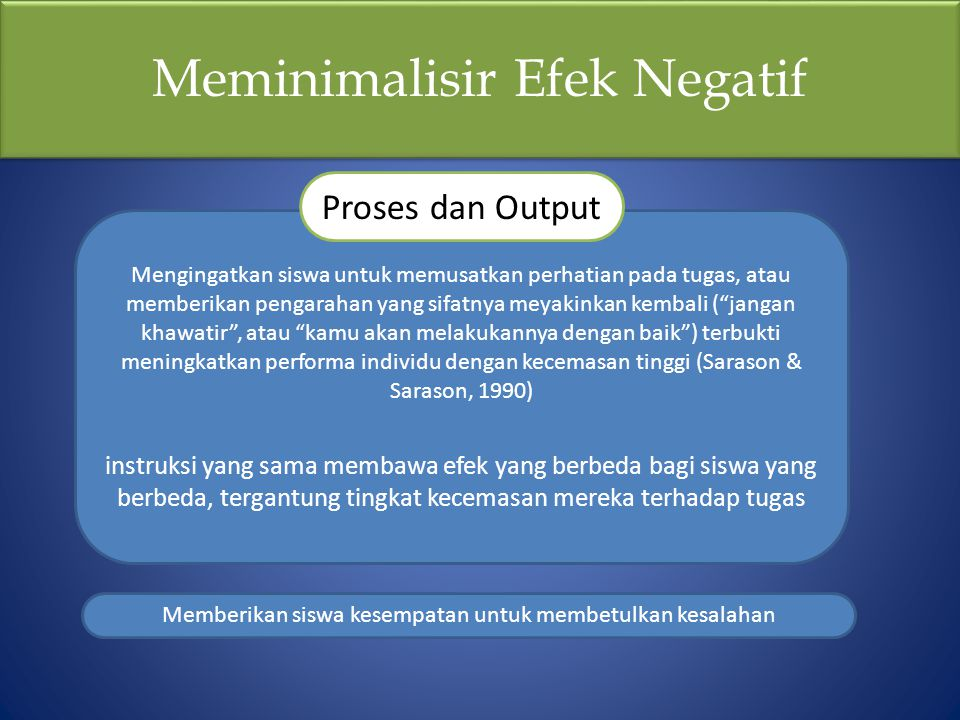 """Meminimalisir Efek Negatif Mengingatkan siswa untuk memusatkan perhatian pada tugas, atau memberikan pengarahan yang sifatnya meyakinkan kembali (""""jan"""