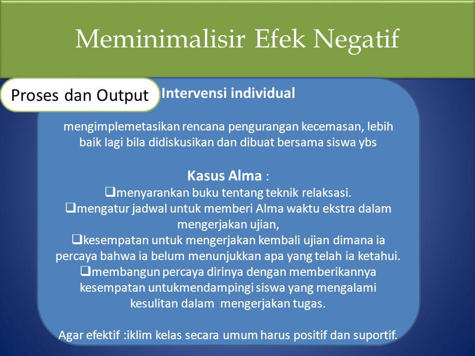 Meminimalisir Efek Negatif Intervensi individual mengimplemetasikan rencana pengurangan kecemasan, lebih baik lagi bila didiskusikan dan dibuat bersam