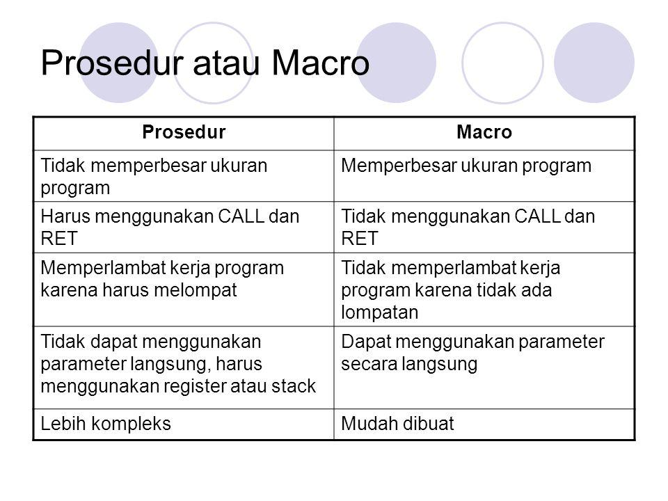 Prosedur atau Macro ProsedurMacro Tidak memperbesar ukuran program Memperbesar ukuran program Harus menggunakan CALL dan RET Tidak menggunakan CALL da