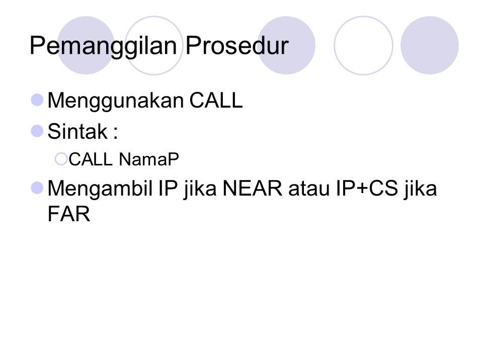 Pemanggilan Prosedur Menggunakan CALL Sintak :  CALL NamaP Mengambil IP jika NEAR atau IP+CS jika FAR