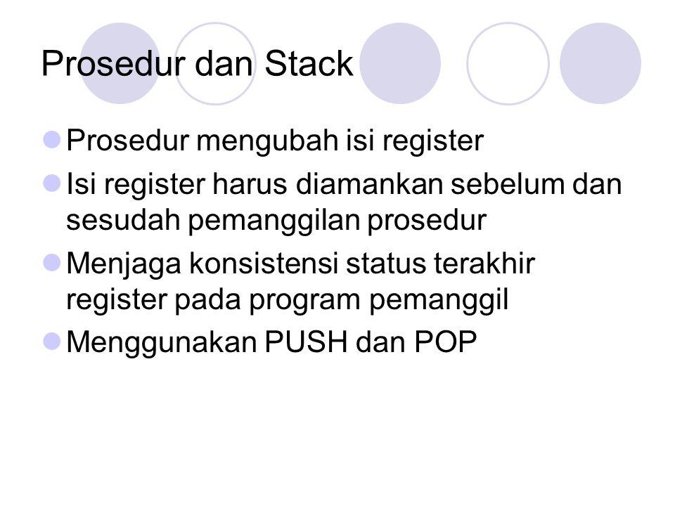 Prosedur dan Stack Prosedur mengubah isi register Isi register harus diamankan sebelum dan sesudah pemanggilan prosedur Menjaga konsistensi status ter