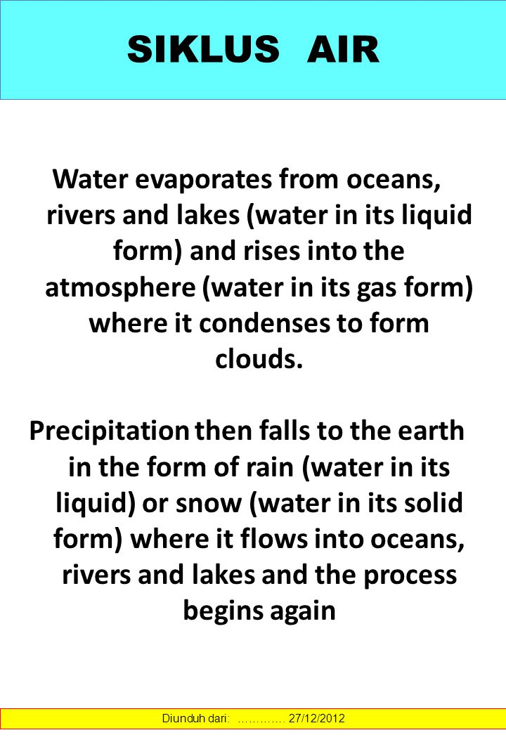 SIKLUS AIR Water evaporates from oceans, rivers and lakes (water in its liquid form) and rises into the atmosphere (water in its gas form) where it co