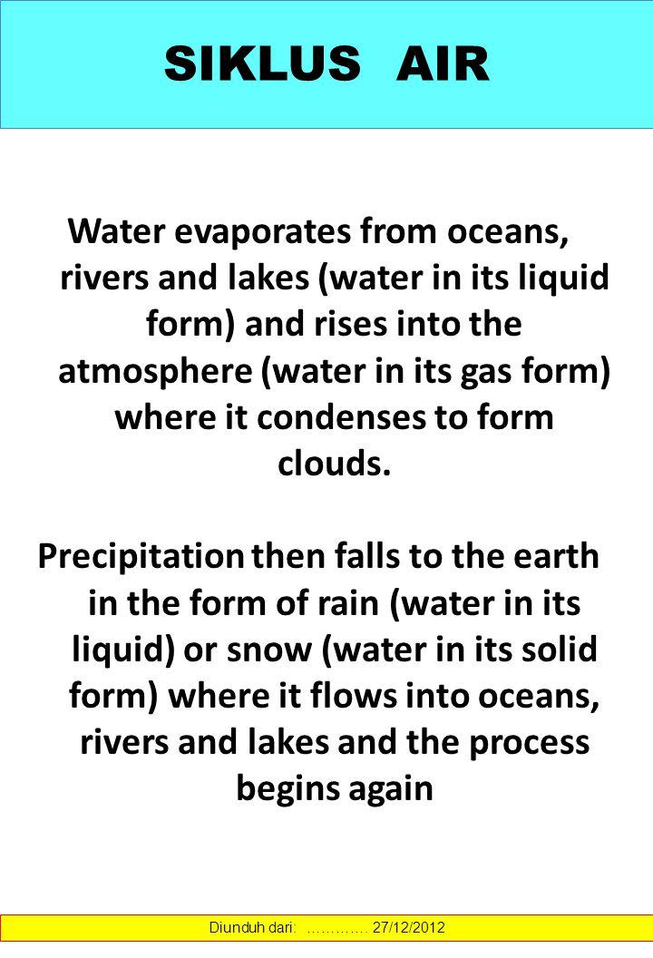 Precipit ation Moist ure over land Evapotranspiration Infiltration Moist ure over land Evaporation from ocean Evaporation Soil Moisture SIKLUS AIR Diunduh dari: ………….