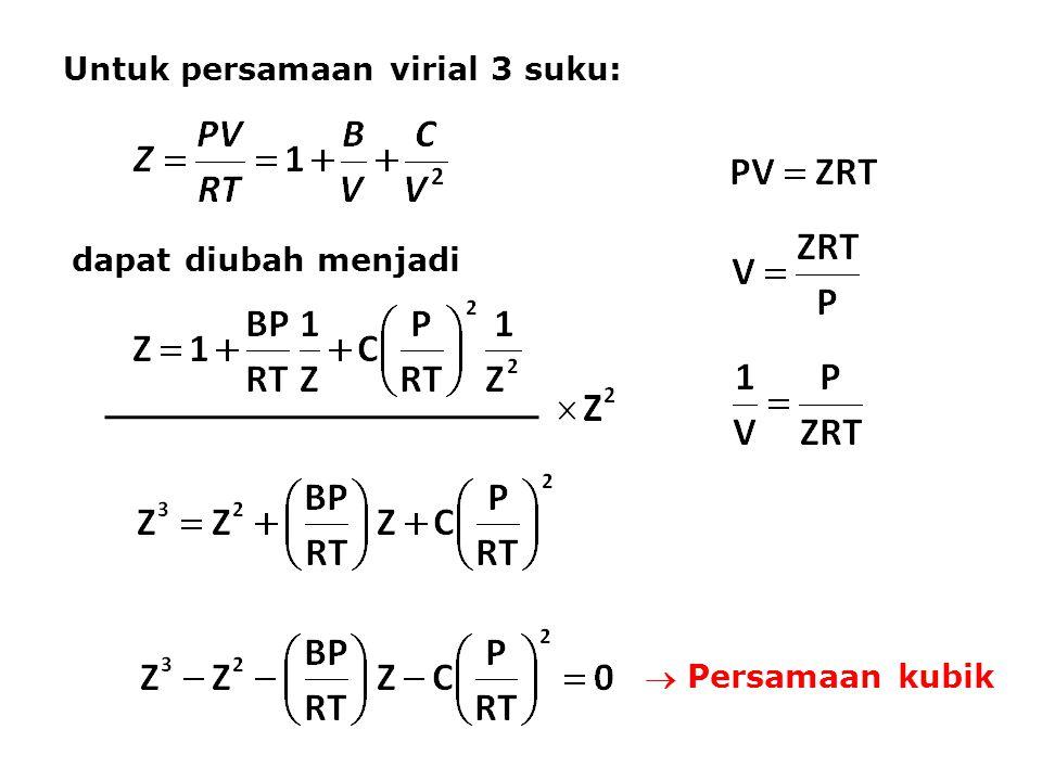 Untuk persamaan virial 3 suku: dapat diubah menjadi  Persamaan kubik