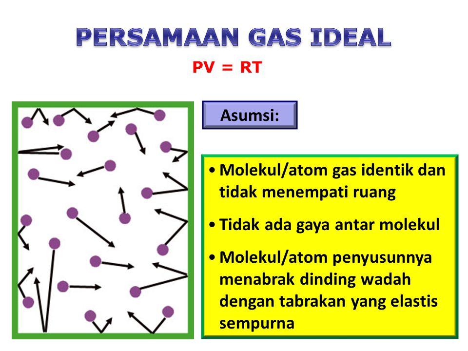 Asumsi: Molekul/atom gas identik dan tidak menempati ruang Tidak ada gaya antar molekul Molekul/atom penyusunnya menabrak dinding wadah dengan tabrakan yang elastis sempurna PV = RT