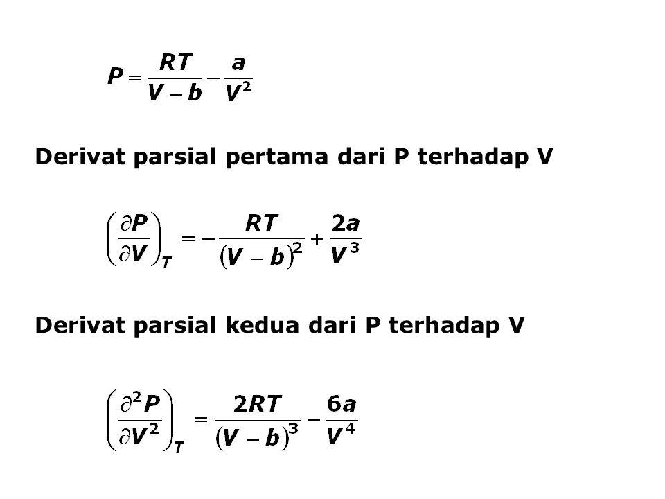 Derivat parsial pertama dari P terhadap V Derivat parsial kedua dari P terhadap V