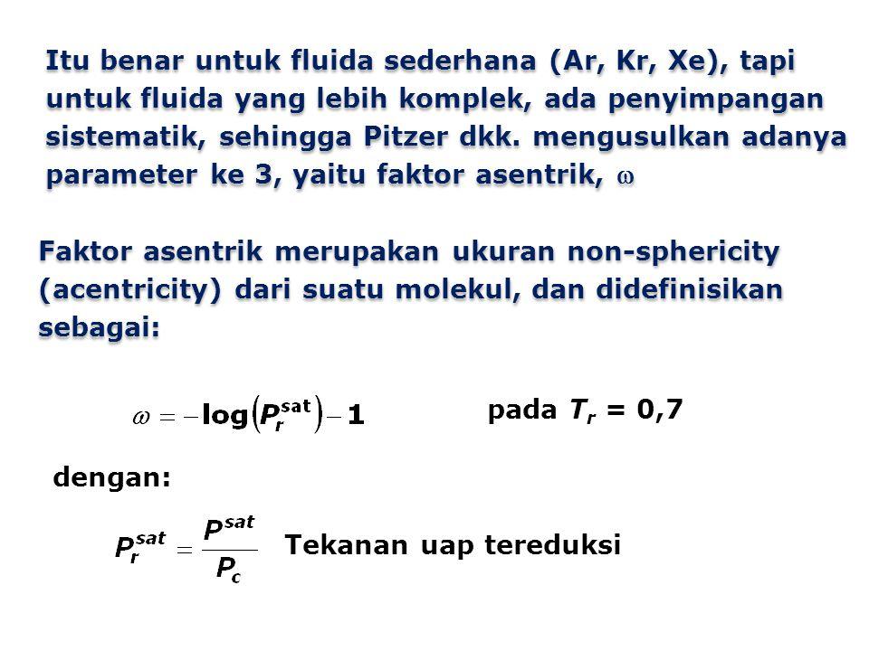 Faktor asentrik merupakan ukuran non-sphericity (acentricity) dari suatu molekul, dan didefinisikan sebagai: pada T r = 0,7 dengan: Tekanan uap tereduksi Itu benar untuk fluida sederhana (Ar, Kr, Xe), tapi untuk fluida yang lebih komplek, ada penyimpangan sistematik, sehingga Pitzer dkk.