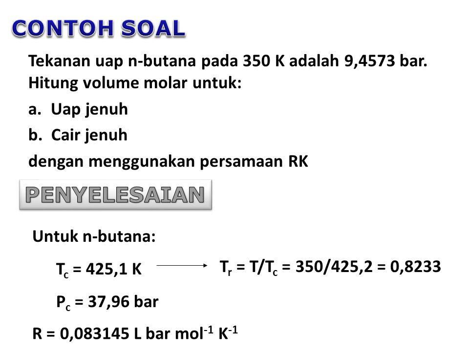 Tekanan uap n-butana pada 350 K adalah 9,4573 bar.