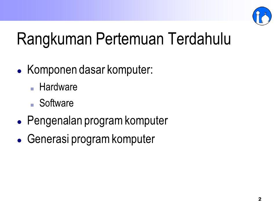 2 Rangkuman Pertemuan Terdahulu ● Komponen dasar komputer: ■ Hardware ■ Software ● Pengenalan program komputer ● Generasi program komputer
