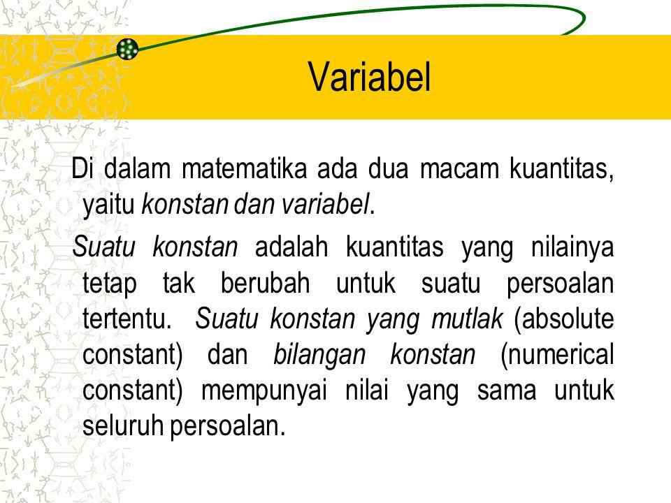 Variabel Di dalam matematika ada dua macam kuantitas, yaitu k onstan dan variabel.