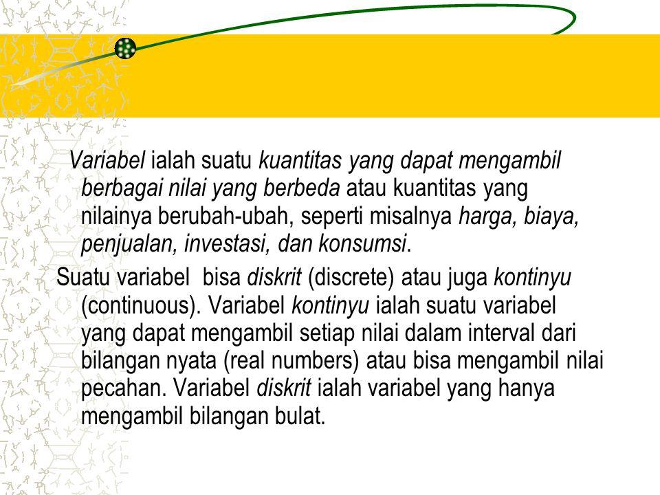 V ariabel ialah suatu k uantitas yang dapat mengambil berbagai nilai yang berbeda atau kuantitas yang nilainya berubah-ubah, seperti misalnya h arga, biaya, penjualan, investasi, dan konsumsi.