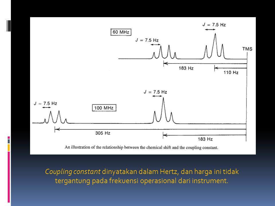 Coupling constant dinyatakan dalam Hertz, dan harga ini tidak tergantung pada frekuensi operasional dari instrument.