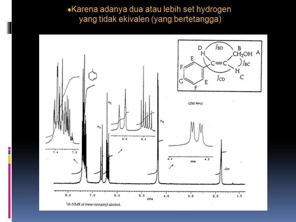  Karena adanya dua atau lebih set hydrogen yang tidak ekivalen (yang bertetangga)