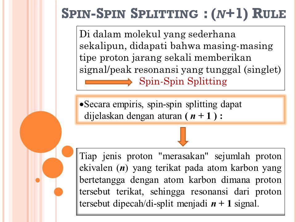  Secara empiris, spin-spin splitting dapat dijelaskan dengan aturan ( n + 1 ) : Tiap jenis proton