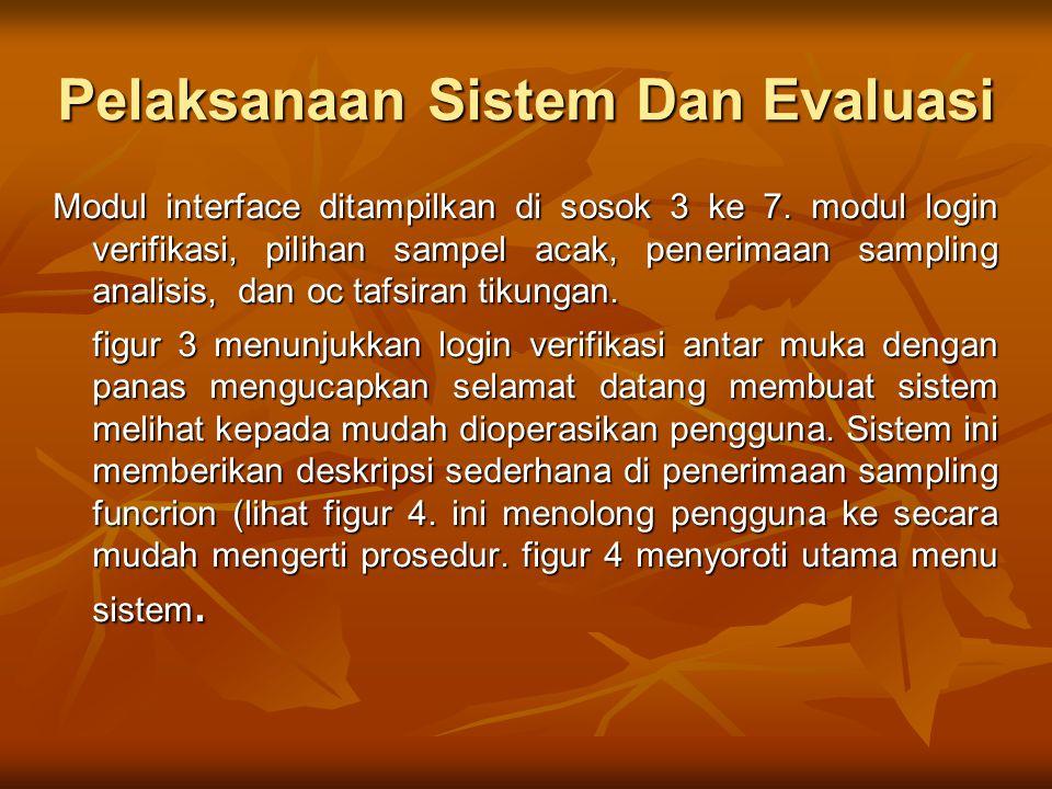 Pelaksanaan Sistem Dan Evaluasi Modul interface ditampilkan di sosok 3 ke 7. modul login verifikasi, pilihan sampel acak, penerimaan sampling analisis
