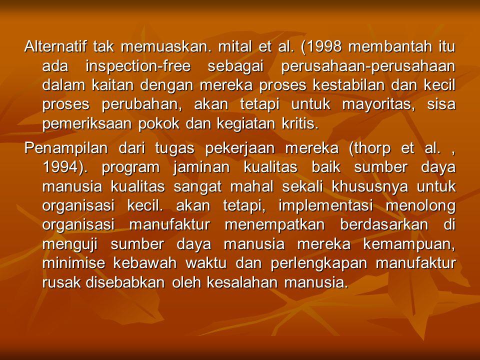 Alternatif tak memuaskan. mital et al. (1998 membantah itu ada inspection-free sebagai perusahaan-perusahaan dalam kaitan dengan mereka proses kestabi