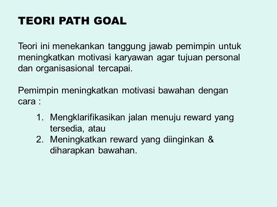 Teori ini menekankan tanggung jawab pemimpin untuk meningkatkan motivasi karyawan agar tujuan personal dan organisasional tercapai. Pemimpin meningkat
