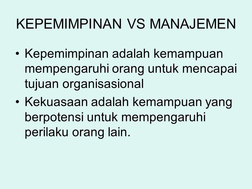 KEPEMIMPINAN VS MANAJEMEN Kepemimpinan adalah kemampuan mempengaruhi orang untuk mencapai tujuan organisasional Kekuasaan adalah kemampuan yang berpot