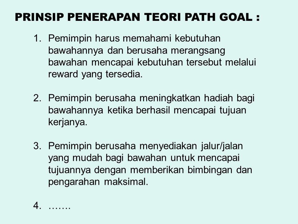 1.Pemimpin harus memahami kebutuhan bawahannya dan berusaha merangsang bawahan mencapai kebutuhan tersebut melalui reward yang tersedia. 2.Pemimpin be