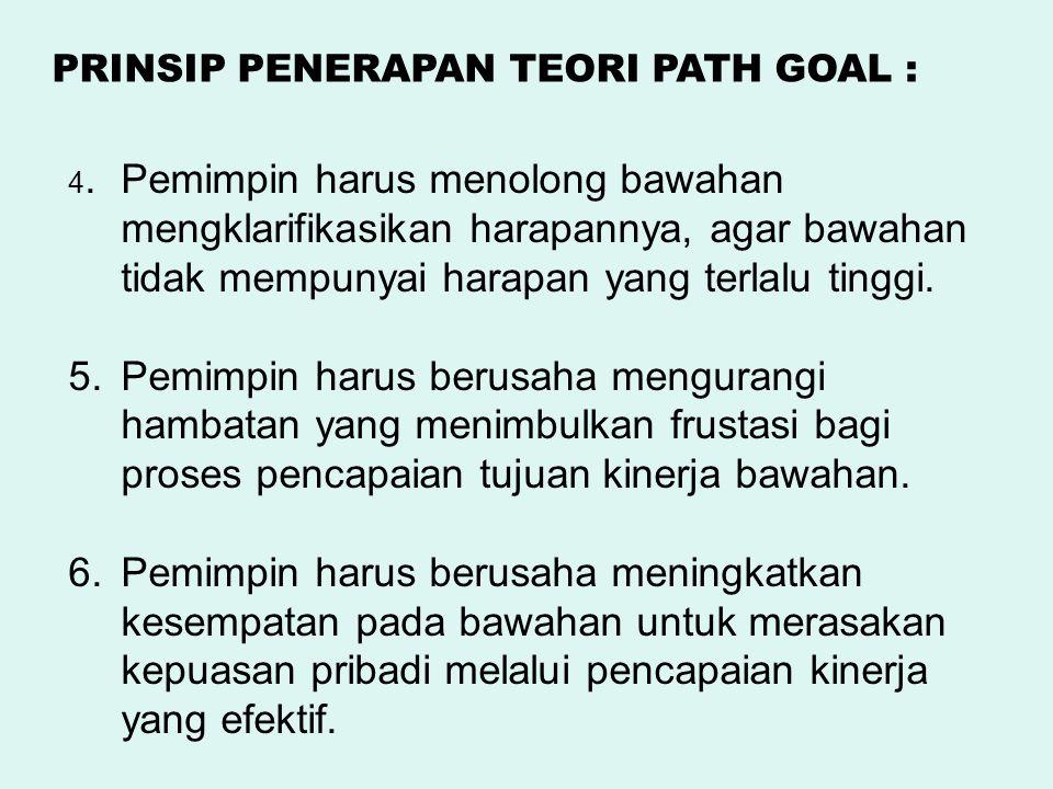4.Pemimpin harus menolong bawahan mengklarifikasikan harapannya, agar bawahan tidak mempunyai harapan yang terlalu tinggi. 5.Pemimpin harus berusaha m
