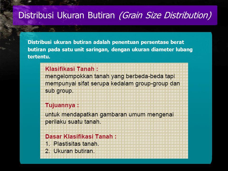 Distribusi ukuran butiran adalah penentuan persentase berat butiran pada satu unit saringan, dengan ukuran diameter lubang tertentu.