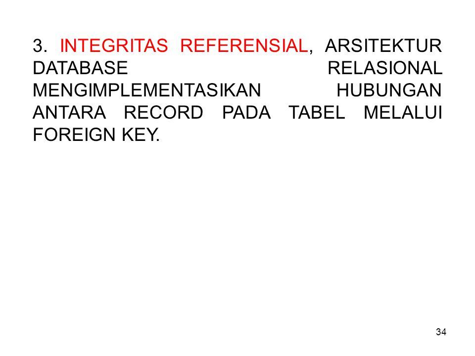 34 3. INTEGRITAS REFERENSIAL, ARSITEKTUR DATABASE RELASIONAL MENGIMPLEMENTASIKAN HUBUNGAN ANTARA RECORD PADA TABEL MELALUI FOREIGN KEY.