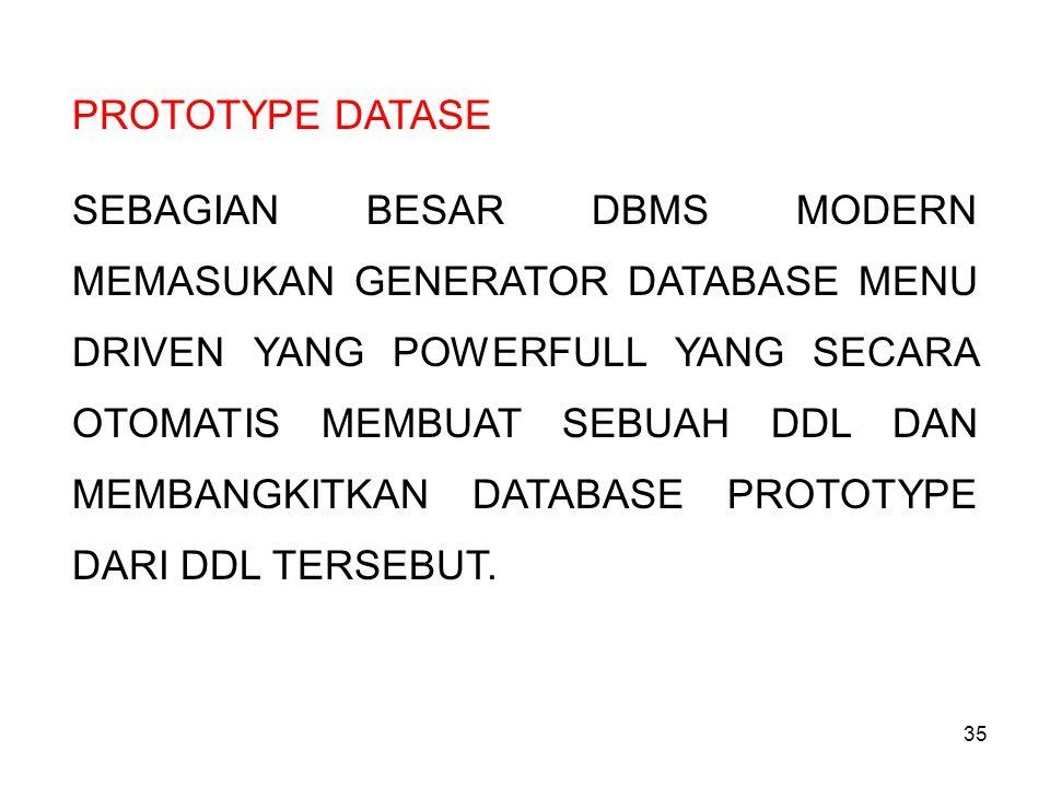 35 PROTOTYPE DATASE SEBAGIAN BESAR DBMS MODERN MEMASUKAN GENERATOR DATABASE MENU DRIVEN YANG POWERFULL YANG SECARA OTOMATIS MEMBUAT SEBUAH DDL DAN MEM