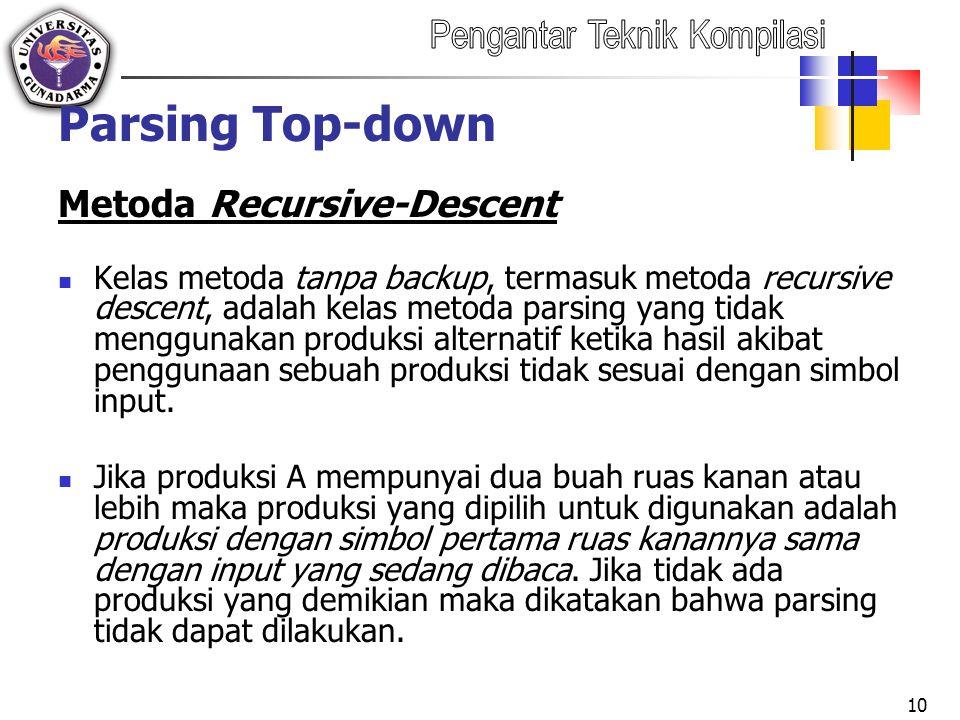 Parsing Top-down Metoda Recursive-Descent Kelas metoda tanpa backup, termasuk metoda recursive descent, adalah kelas metoda parsing yang tidak menggunakan produksi alternatif ketika hasil akibat penggunaan sebuah produksi tidak sesuai dengan simbol input.