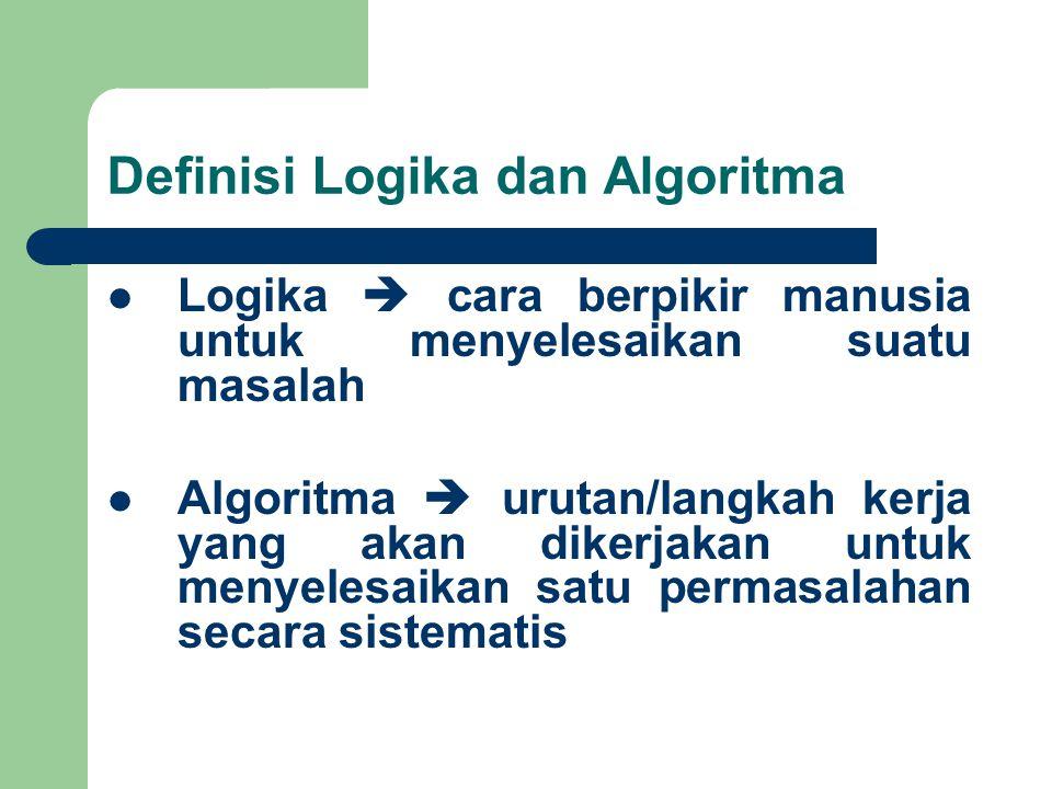 Definisi Logika dan Algoritma Logika  cara berpikir manusia untuk menyelesaikan suatu masalah Algoritma  urutan/langkah kerja yang akan dikerjakan u