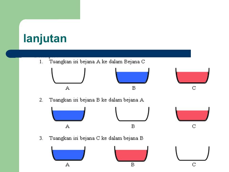 DESKRIPSI : 1.Tuangkan larutan dari bejana A ke dalam bejana C 2.