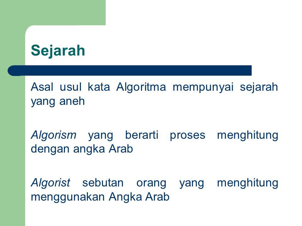 Sejarah Asal usul kata Algoritma mempunyai sejarah yang aneh Algorism yang berarti proses menghitung dengan angka Arab Algorist sebutan orang yang men