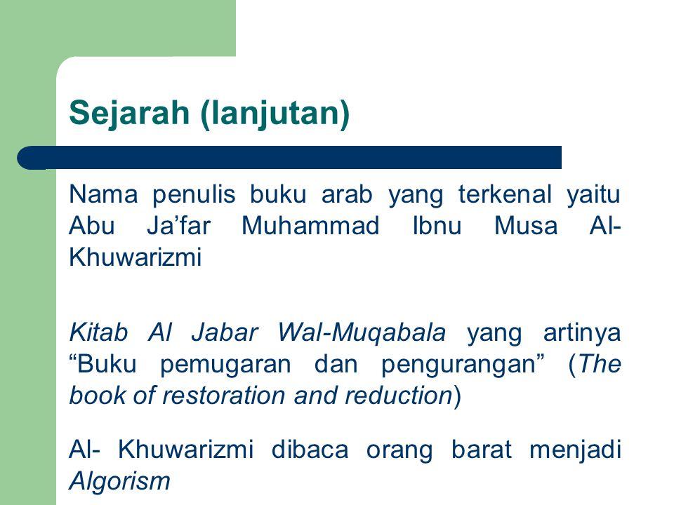 """Sejarah (lanjutan) Nama penulis buku arab yang terkenal yaitu Abu Ja'far Muhammad Ibnu Musa Al- Khuwarizmi Kitab Al Jabar Wal-Muqabala yang artinya """"B"""